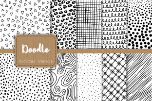 Print on Demand: Black and White Doodle Papers Graphic Patterns By Prawny