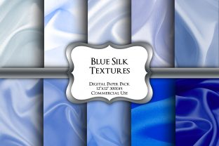 Print on Demand: Blue Silk Textures Digital Paper Pack Graphic Backgrounds By Party Pixelz