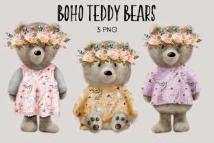 Print on Demand: Boho Woodland Teddy Bear Clipart Gráfico Ilustraciones Por Celebrately Graphics