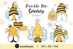 Bumble Bee Gnome Graphic Illustrations By CatAndMe