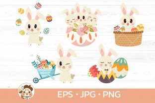 Bundle of White Rabbit with Easter Day Graphic Illustrations By Guppic the duck