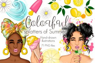 Colorful Splatters of Summer Clipart Graphic Illustrations By Tanya Kart