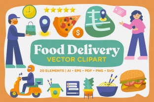 Print on Demand: Delivery Food Vector Clipart Pack Graphic Illustrations By Telllu