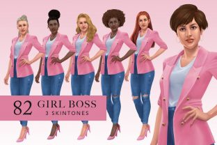 Denim Girl Boss Pink Graphic Illustrations By SincerelyNix
