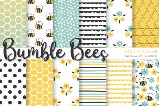 Digital Paper BUMBLE BEES Graphic Patterns By Sweet Shop Design