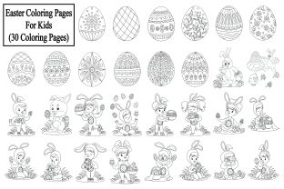 Easter Coloring Pages for Kids - 30 Page Graphic KDP Interiors By eliteasia.salina