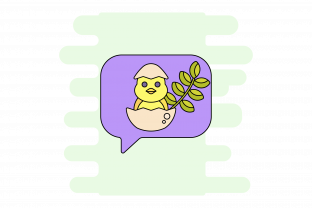 Easter Striped Chick with Purple Vector Graphic Icons By cheerastudio