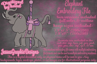 Print on Demand: Elephant Carousel Wild Animals Embroidery Design By JessasGraphicDesgins