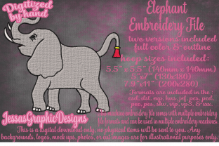Print on Demand: Elephant Wild Animals Embroidery Design By JessasGraphicDesgins