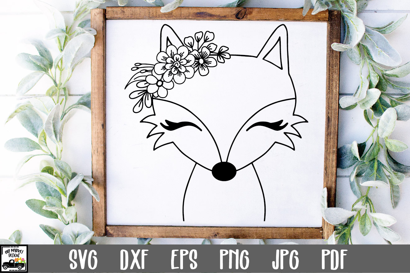 Fox SVG File - Fox with Flowers... SVG File