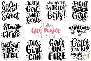 Girl Power Quotes Bundle, Girl Quotes Graphic Crafts By dapiyupi