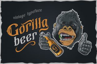 Print on Demand: Gorilla Beer T-shirt Design Graphic Illustrations By Fractal font factory