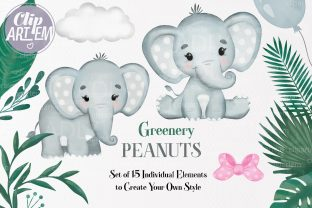 Print on Demand: Gray Elephant Greenery Unisex PNG Set Graphic Illustrations By clipArtem