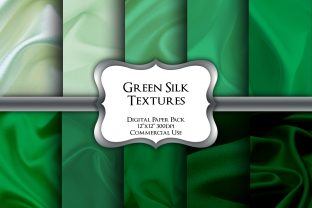 Print on Demand: Green Silk Textures Digital Paper Pack Graphic Backgrounds By Party Pixelz