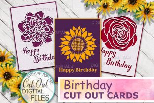 Happy Birthday Cards Bundle Svg Cut out Graphic Crafts By Cornelia