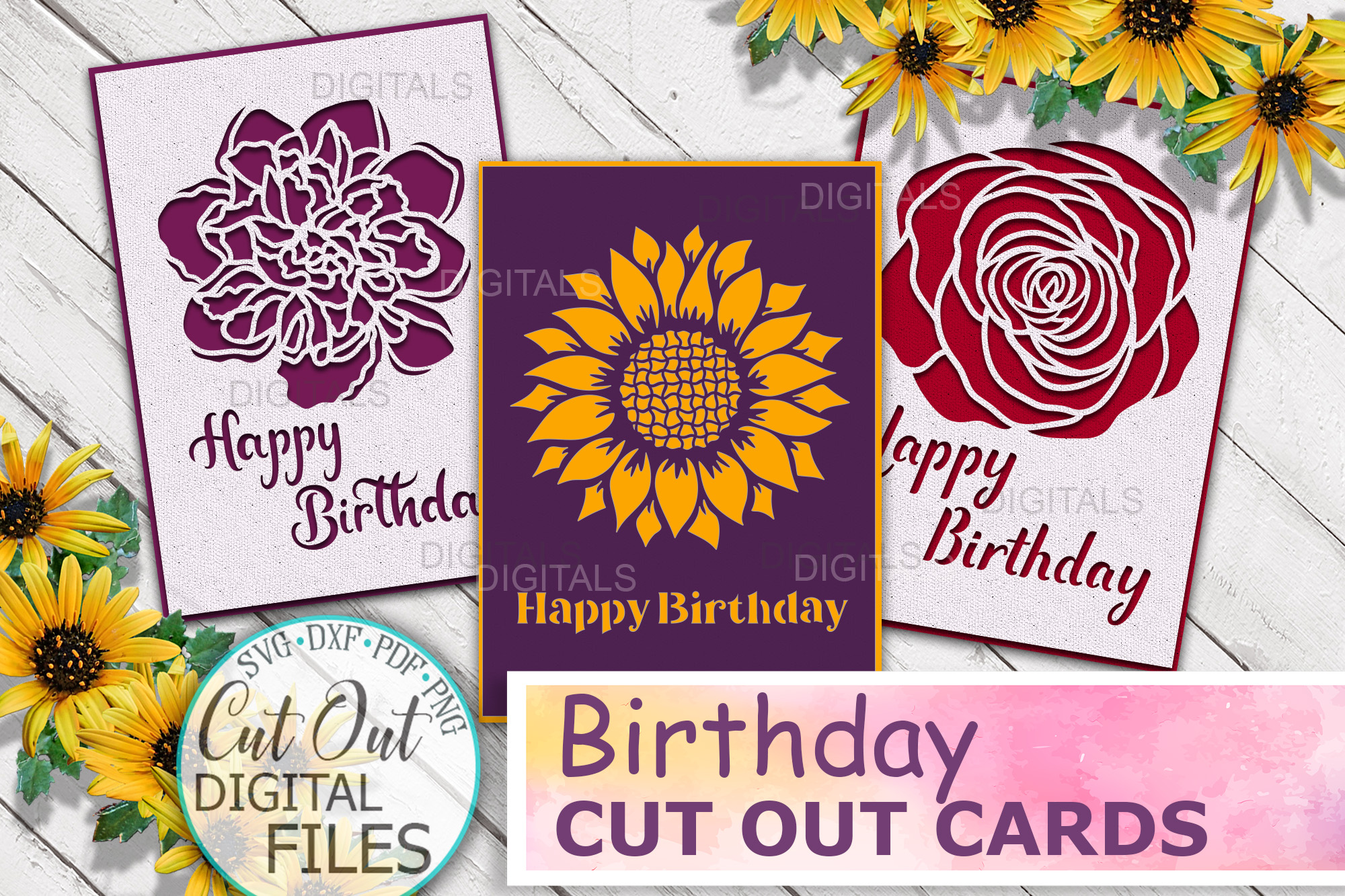 Happy Birthday Cards Bundle Svg Cut out SVG File