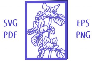 Iris Flower Card SVG Cut File Graphic 3D SVG By Nic Squirrell