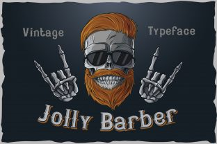 Print on Demand: Jolly Barber T-shirt Design Graphic Illustrations By Fractal font factory