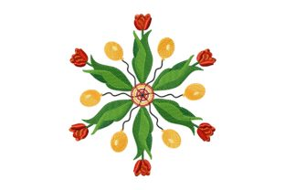 Print on Demand: Kaleidoscope of Tulips and Balloons Spring Embroidery Design By EmbArt