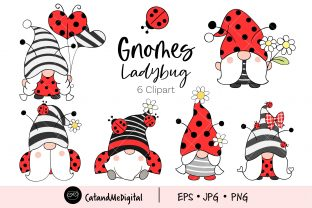 Ladybug Gnomes  Graphic Illustrations By CatAndMe
