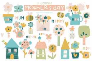 Print on Demand: Mothers Day Clipart Set Graphic Illustrations By poppymoondesign