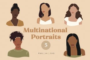 Multinational Abstract Women Portraits Graphic Illustrations By NassyArt