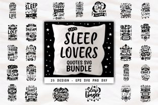 Print on Demand: Sleep Lovers Quotes Design Bundle SVG Graphic Print Templates By Universtock