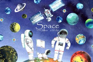 Space Clipart Graphic Illustrations By evgenia_art_art