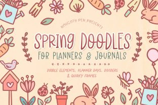 Spring Doodles for Planners and Journals Graphic Illustrations By Naughty Pen