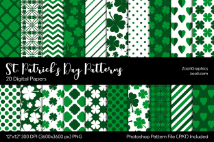 St. Patrick's Day Digital Papers Grafik Muster von ZoollGraphics