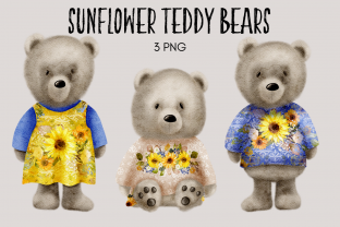 Print on Demand: Sunflower Teddy Bear Clipart Graphic Illustrations By Celebrately Graphics