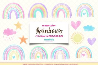 Print on Demand: Watercolor Rainbows Clipart Graphic Illustrations By mascute.arte