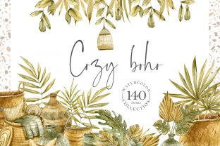 Print on Demand: Watercolor Boho Clipart Collection Graphic Illustrations By Tiana Geo