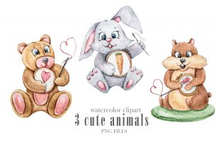 Print on Demand: Watercolor Bunny, Bear, Hamster Clipart Graphic Illustrations By Tiana Geo