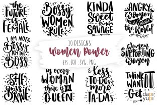Women Power Quotes Bundle, Woman Quotes Graphic Crafts By dapiyupi