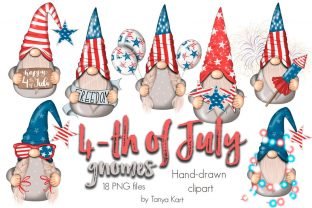 4th of July Gnomes Clipart Graphic Illustrations By Tanya Kart