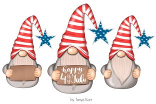 4th of July Gnomes Clipart Graphic Illustrations By Tanya Kart 2