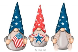 4th of July Gnomes Clipart Graphic Illustrations By Tanya Kart 3