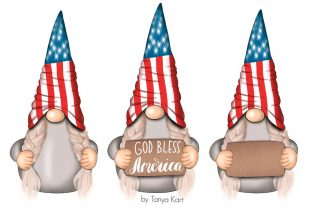 4th of July Gnomes Clipart Graphic Illustrations By Tanya Kart 4