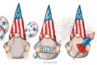 4th of July Gnomes Clipart Graphic Illustrations By Tanya Kart 5