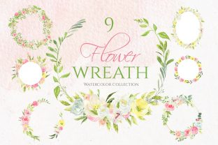 9 Spring Watercolor Flower Wreath Graphic Illustrations By lena-dorosh