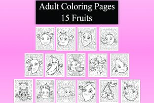 Adult Coloring Pages – 15 Fruits Graphic KDP Interiors By eliteasia.salina