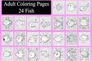 Adult Coloring Pages – 24 Fish Graphic KDP Interiors By eliteasia.salina