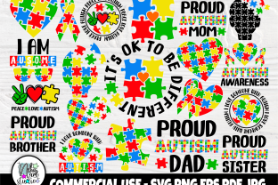 Print on Demand: Autism SVG Bundle, Autism Awareness Svg Graphic Crafts By nibaartstudio