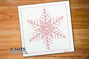 Beautiful Snowflake Redwork Zentangle Embroidery Design By Redwork101