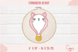 Cat Hot Air Balloon Baby Animals Embroidery Design By carasembor