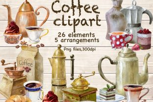 Coffee and Dessert Watercolor Clipart. Graphic Illustrations By Marine Universe
