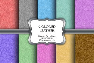 Print on Demand: Colored Leather Textures Digital Papers Graphic Backgrounds By Party Pixelz