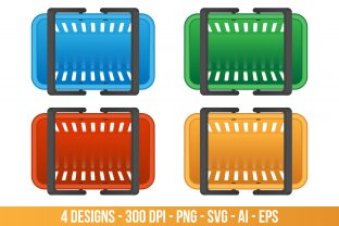 Colored Grocery Basket Clipart Set. Graphic Illustrations By Creativeclipcloud