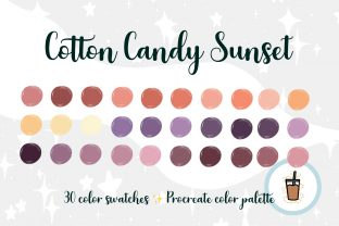 Cotton Candy Sunset Procreate Palette Graphic Add-ons By KC Jean Design Co